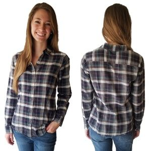 THE LIMITED Blue Green White Plaid Blouse
